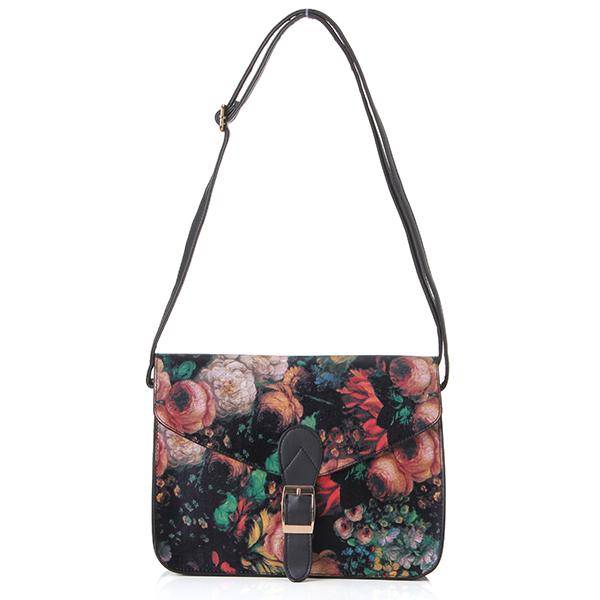 Women Lady Leather Oil Flower Painting Handbag Messenger Shoulder Crossbody Bag
