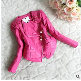 18M-5Y 2015 Fashion Toddler Girl Kid Faux leather PU Jacket Suit Coat Outwear