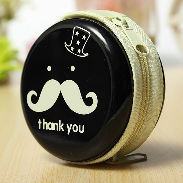 Round Mini Mustache Zip Earphone Key Coin Case Storage Bag Pouch Purse Wallet