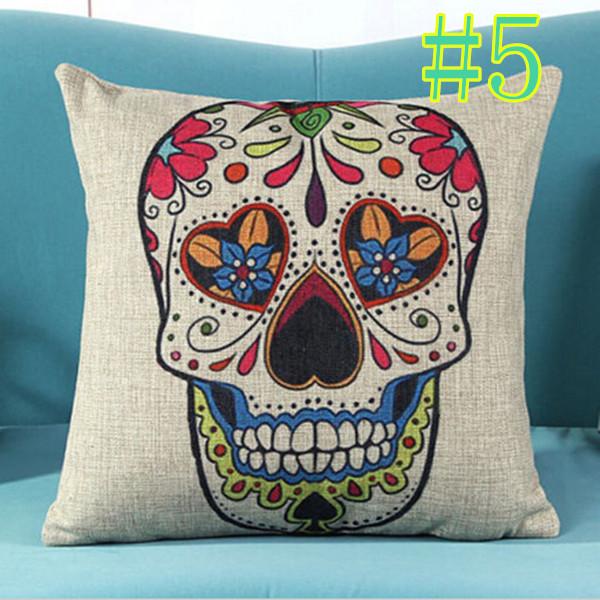 Sofa Bed Home Decor Linen Skull Cushion Throw Pillow Case Cover Linen Cotton New