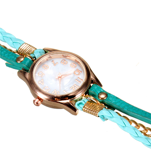 Mode Rétro PU Cuir Multi-couleur Bracelet Poignet Montre Classique Quartz Femmes