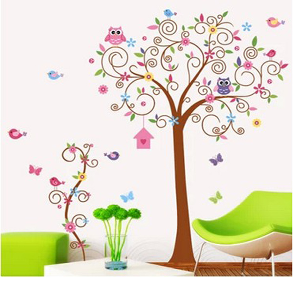 wandaufkleber wandsticker wandtattoo wanddeko kinderzimmer eule v gel baum neu ebay. Black Bedroom Furniture Sets. Home Design Ideas