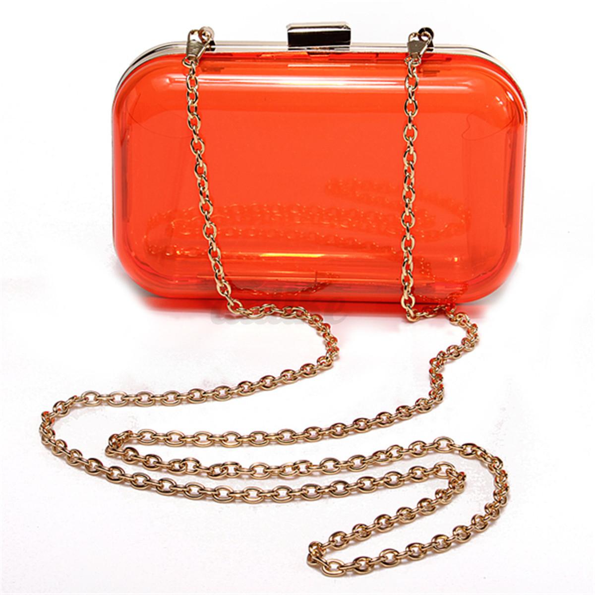 Transparent Acrylic Perspex Women Clutch Box Purse Evening Handbag Shoulder Bag