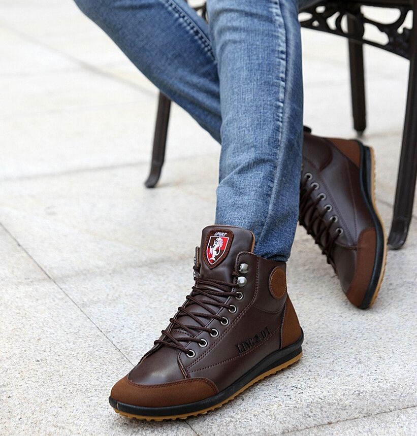 2016 new s casual leather high top sneaker lace up