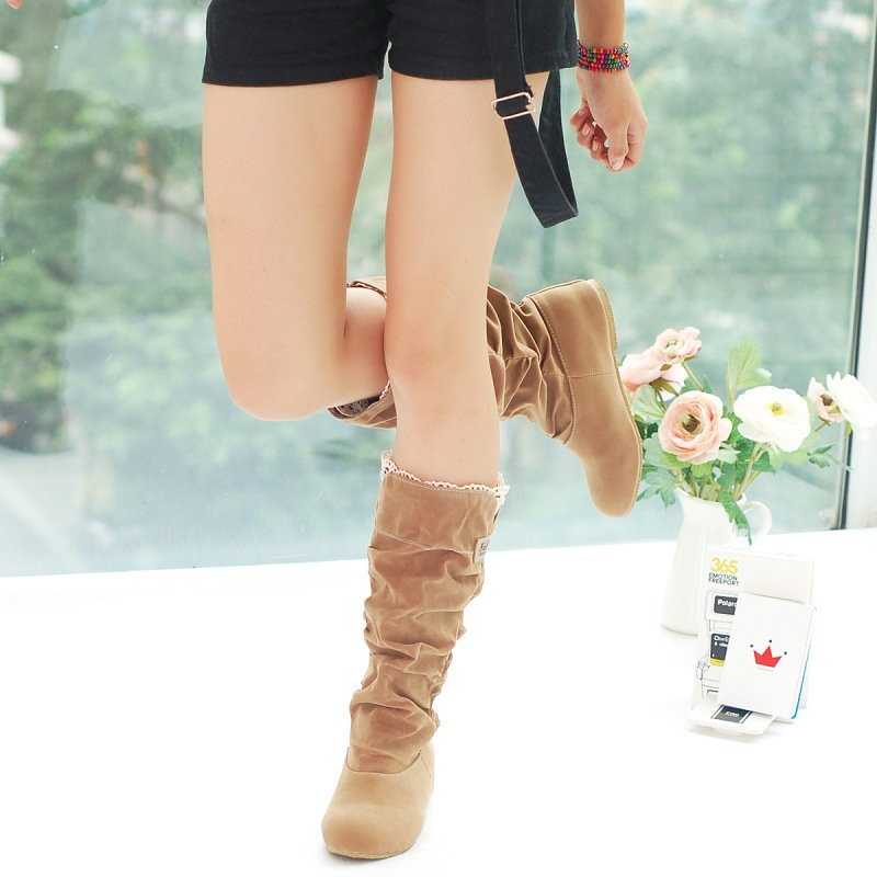 NEW WOMENS LADIES SUEDE FLAT LACE CUFF MID CALF PULL ON PIXIE SLOUCH BOOTS SHOES