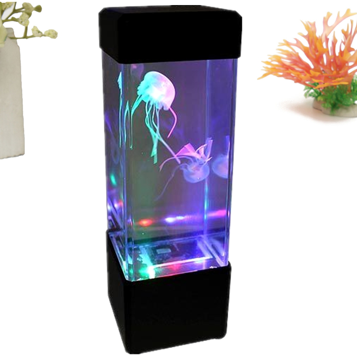 Aquarium led motion lights lamp jellyfish fish volcano for Room decor led lights