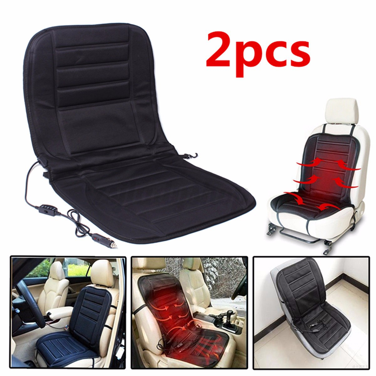 Pair 12V Winter Warmer Heat Car Heated Seat Cushion Hot