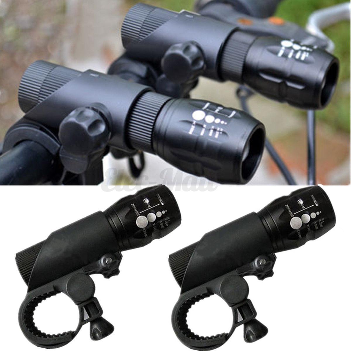 Elfeland 2PCS T6 LED Zoomable Flashlight Bike Cycling Head ...