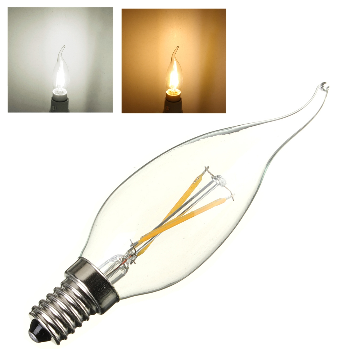 e14 ses 2w 4w edison filament cob led glass chandelier candle light lamp bulb ebay. Black Bedroom Furniture Sets. Home Design Ideas