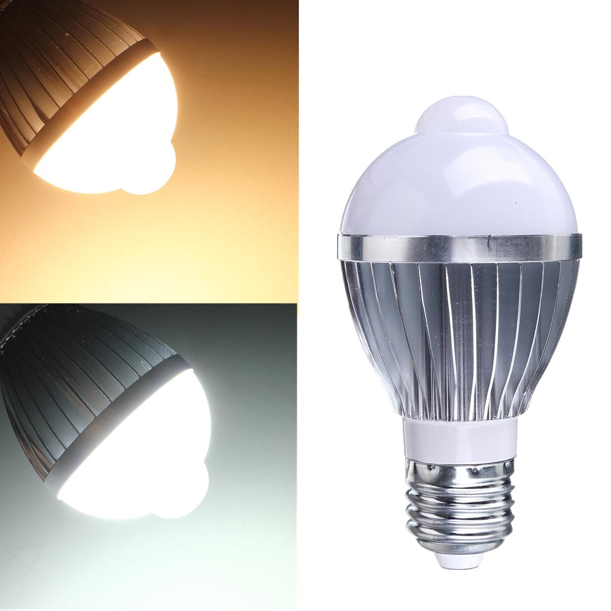 E27 5w 7w Auto Pir Infrared Motion Sensor Detection White Led Bulb Lamp Light Ebay