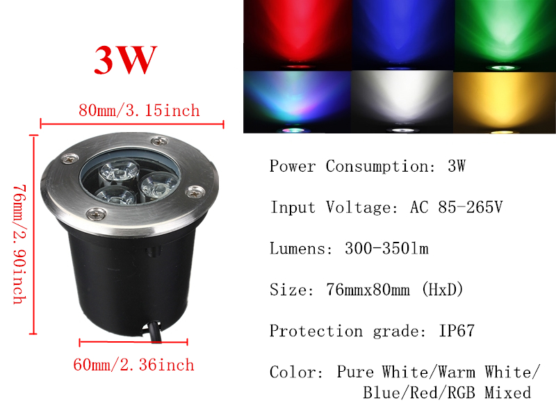 Led 1w 3w 5w 7w impermeable exterior l mp subterr neo - Focos jardin led ...