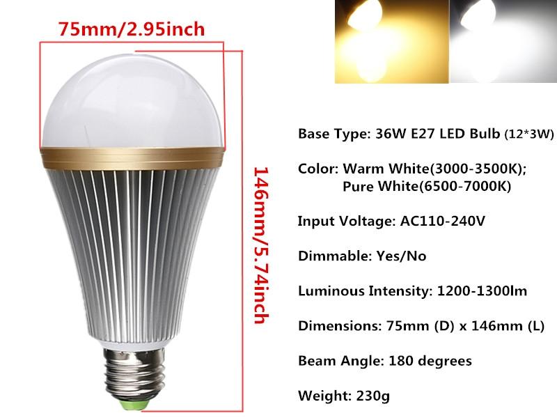 9W 15W 21W 27W 36W E27 Dimmable LED Globe Light Bulb Spot Lamp Cool / Warm White