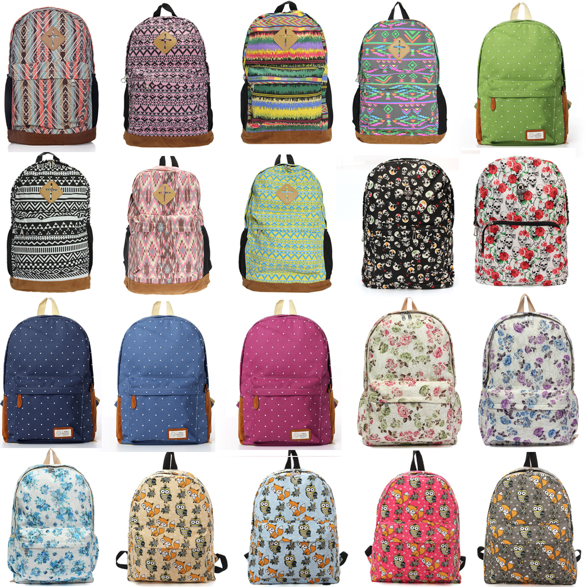 Women Girl Travel Mochila Satchel Shoulder School Bag Canvas ...