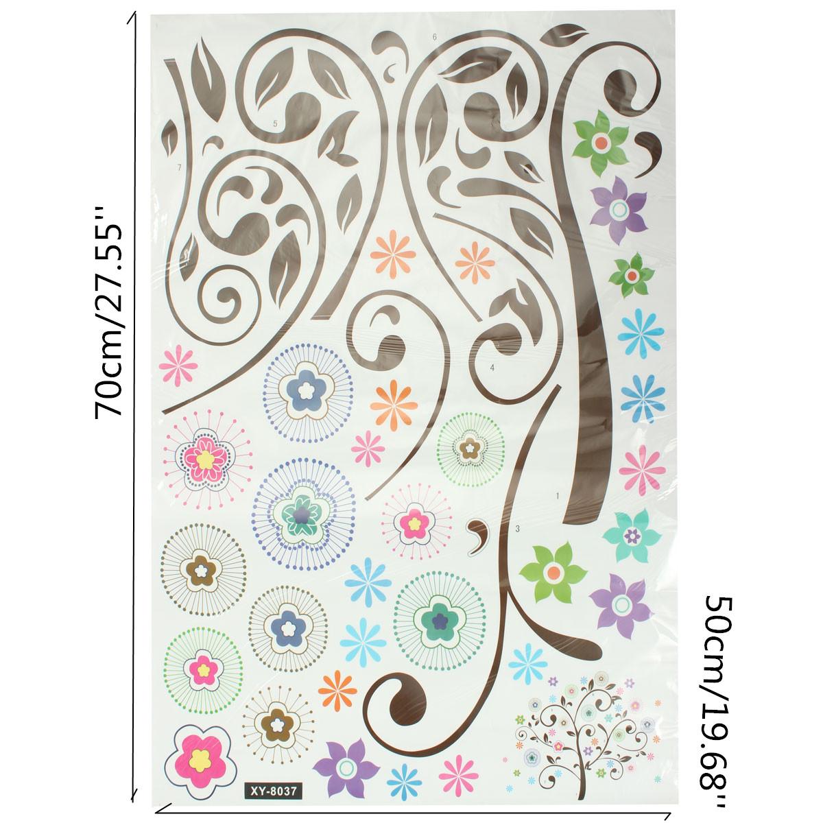 sticker mural fleur lettre amovible d coration autocollant mur chambre salon ebay. Black Bedroom Furniture Sets. Home Design Ideas