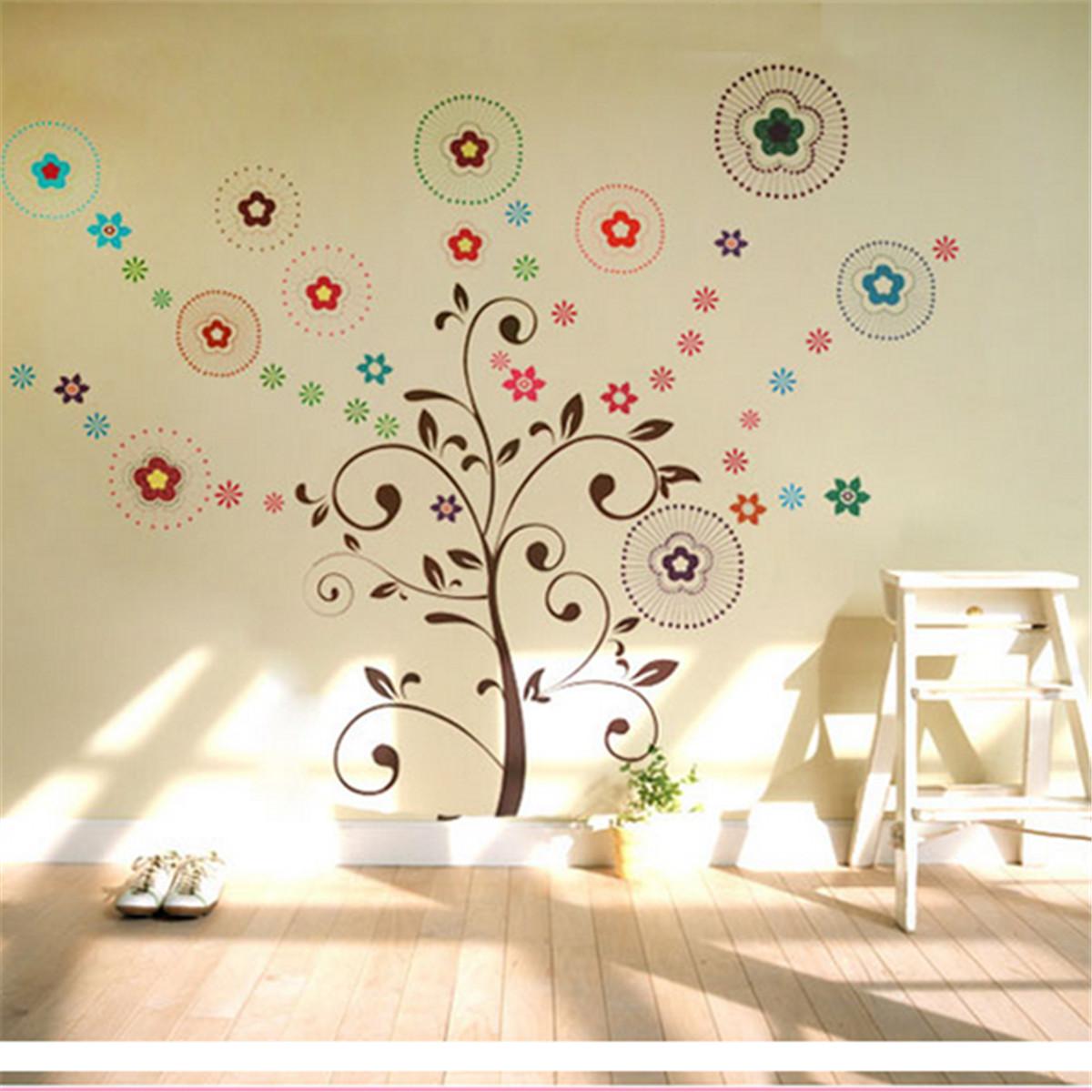 Sticker mural fleur lettre amovible d coration autocollant for Autocollant mural chambre bb
