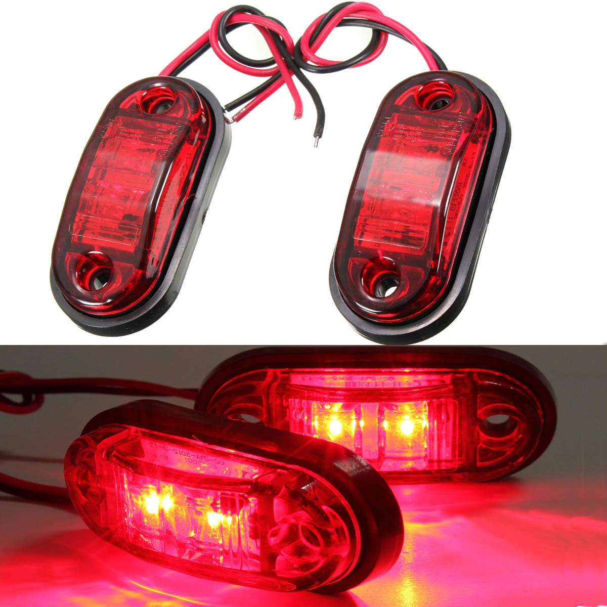 2x 12 24v red piranha led side marker blinker light lamp. Black Bedroom Furniture Sets. Home Design Ideas