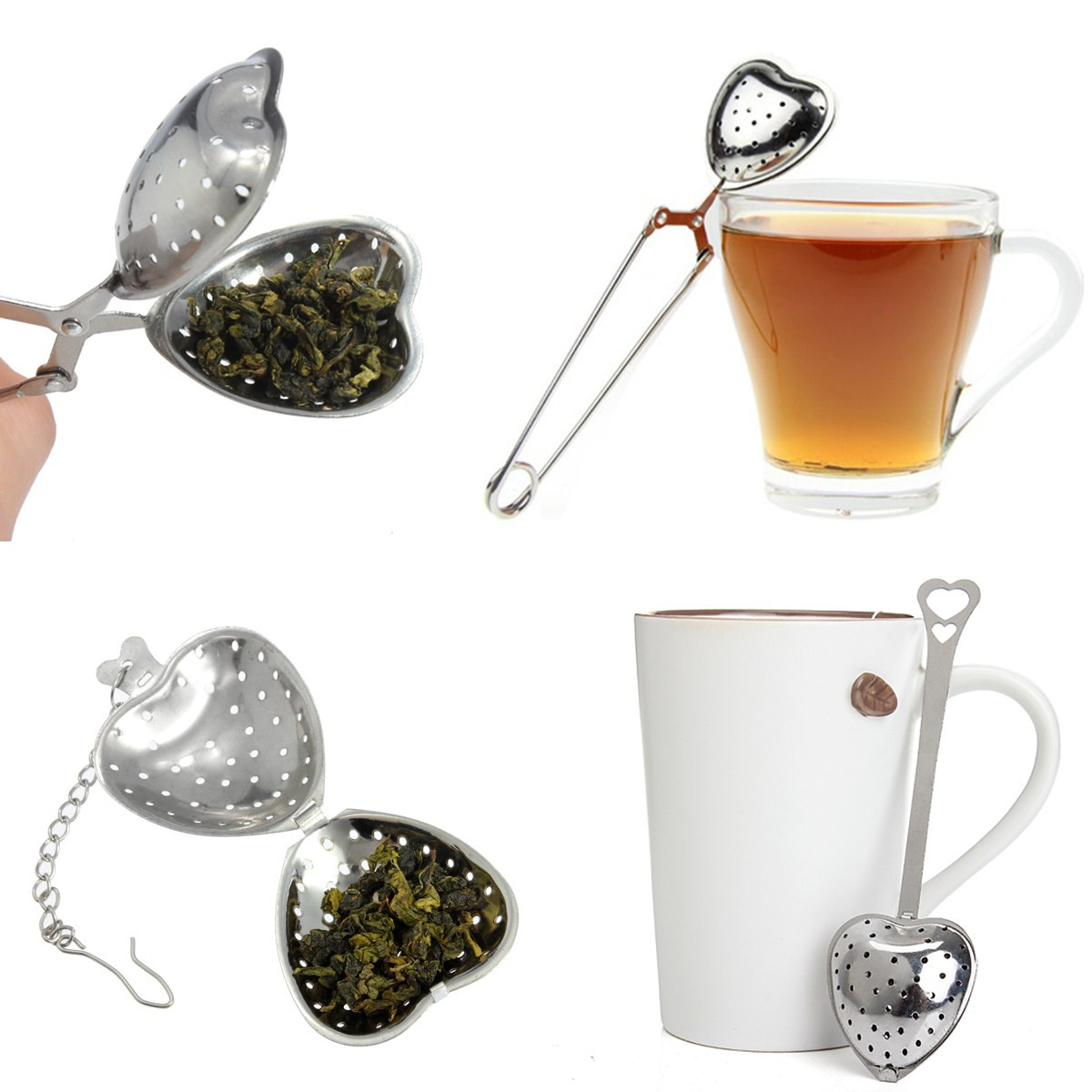 boule th inox coeur passe infuseur filtre passoire cuill re pince tea infuser ebay. Black Bedroom Furniture Sets. Home Design Ideas