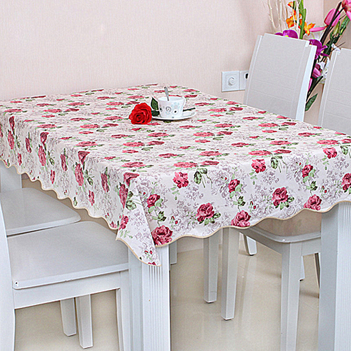 Wipe Clean Pvc Tablecloth Waterproof Grease Kitchen Table