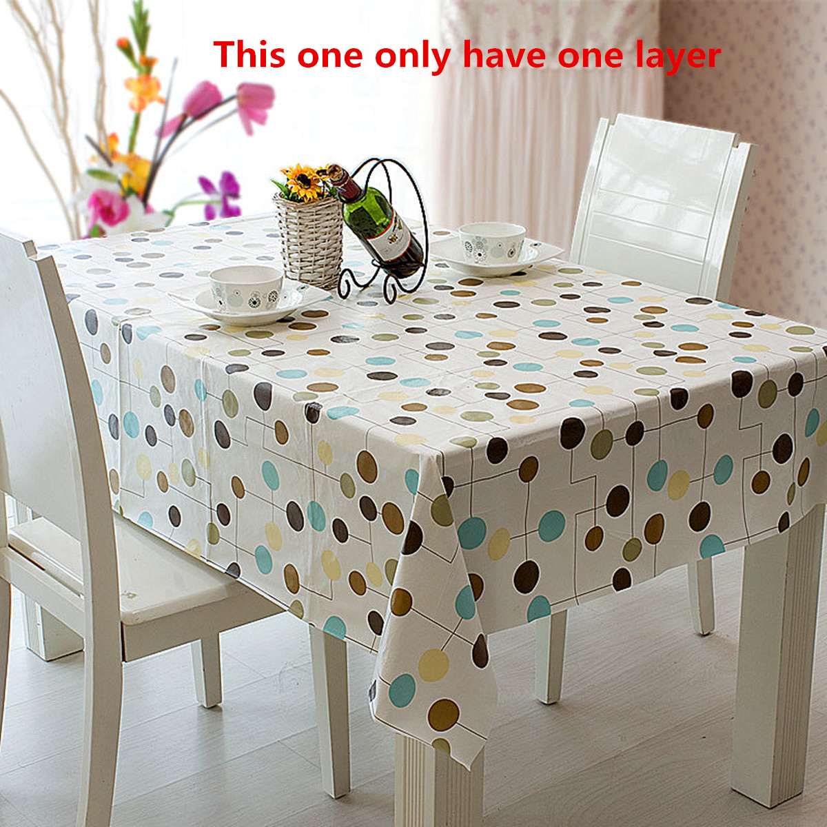 ... Wipe Clean Pvc Tablecloth Waterproof Grease Kitchen Table ...