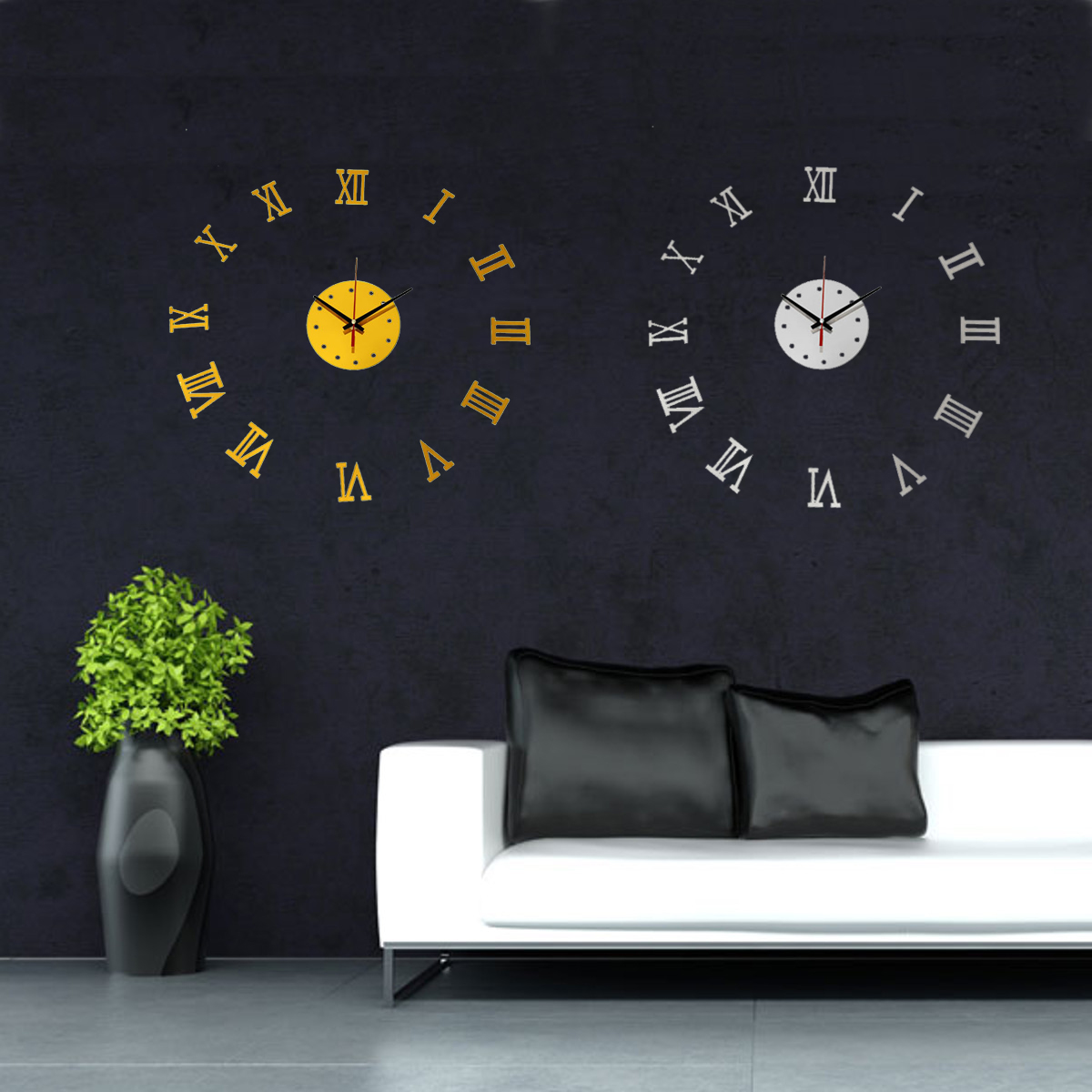 modern design wanduhr spiegel uhren wandtattoo zimmer wand 3d dekouhr auswahl ebay. Black Bedroom Furniture Sets. Home Design Ideas