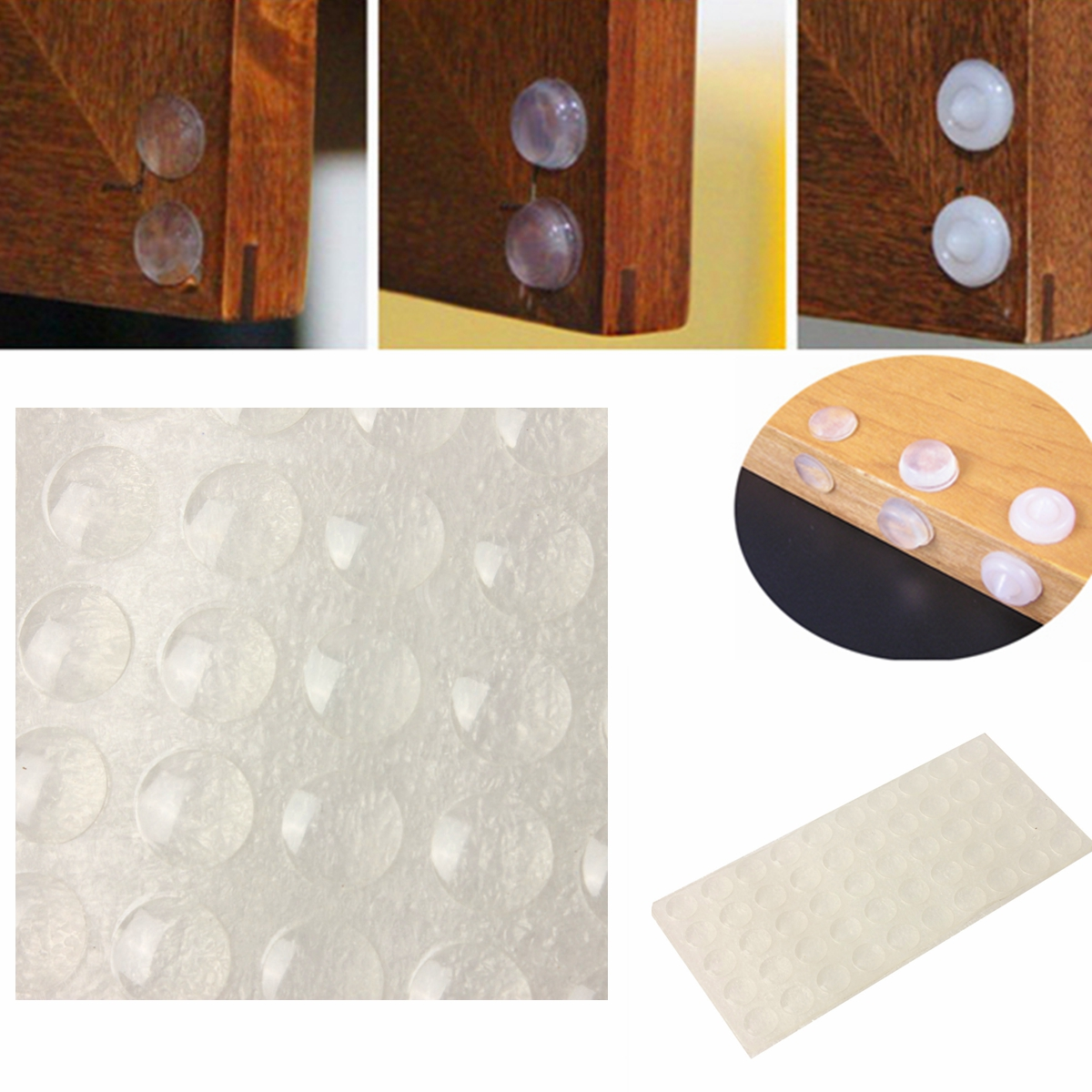 50 100pc self adhesive rubber feet small clear bumpers door pad cupboard drawer ebay - Drawer bumper pads ...