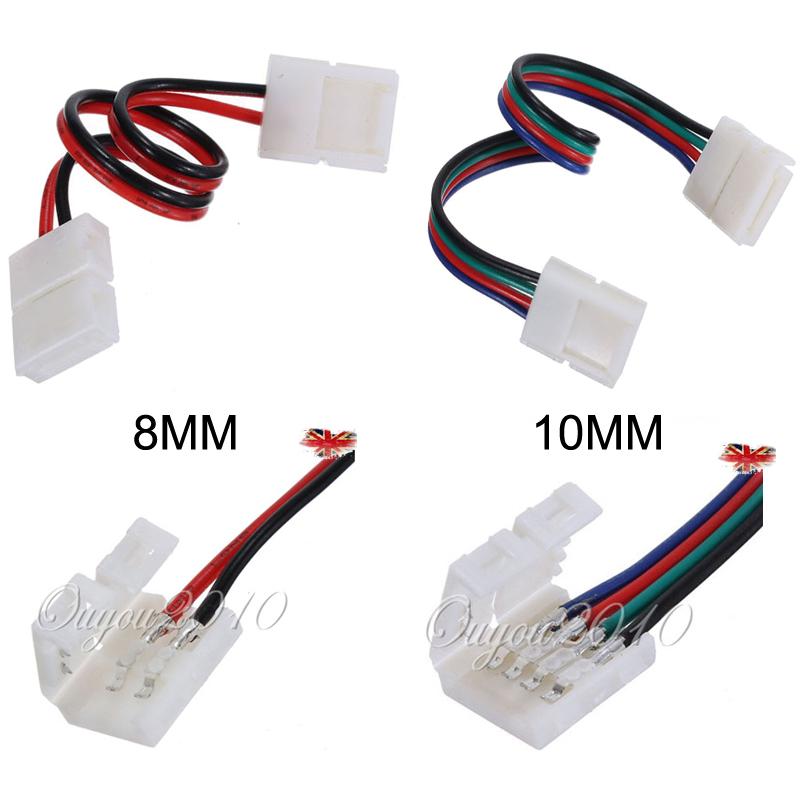 2 10x 8mm 10mm led strip light connector adapter cable clip 5050 3528 rgb single ebay. Black Bedroom Furniture Sets. Home Design Ideas