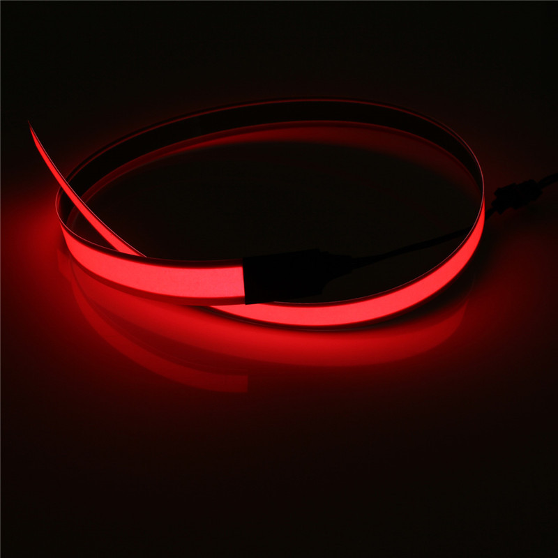60CM/1M Flexible LED Electroluminescent Tape EL Wire Glowing Strip Light