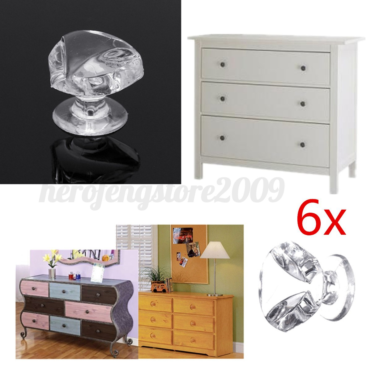 1 10x crystal kitchen drawer cabinet cupboard wardrobe for Kitchen wardrobe cabinet