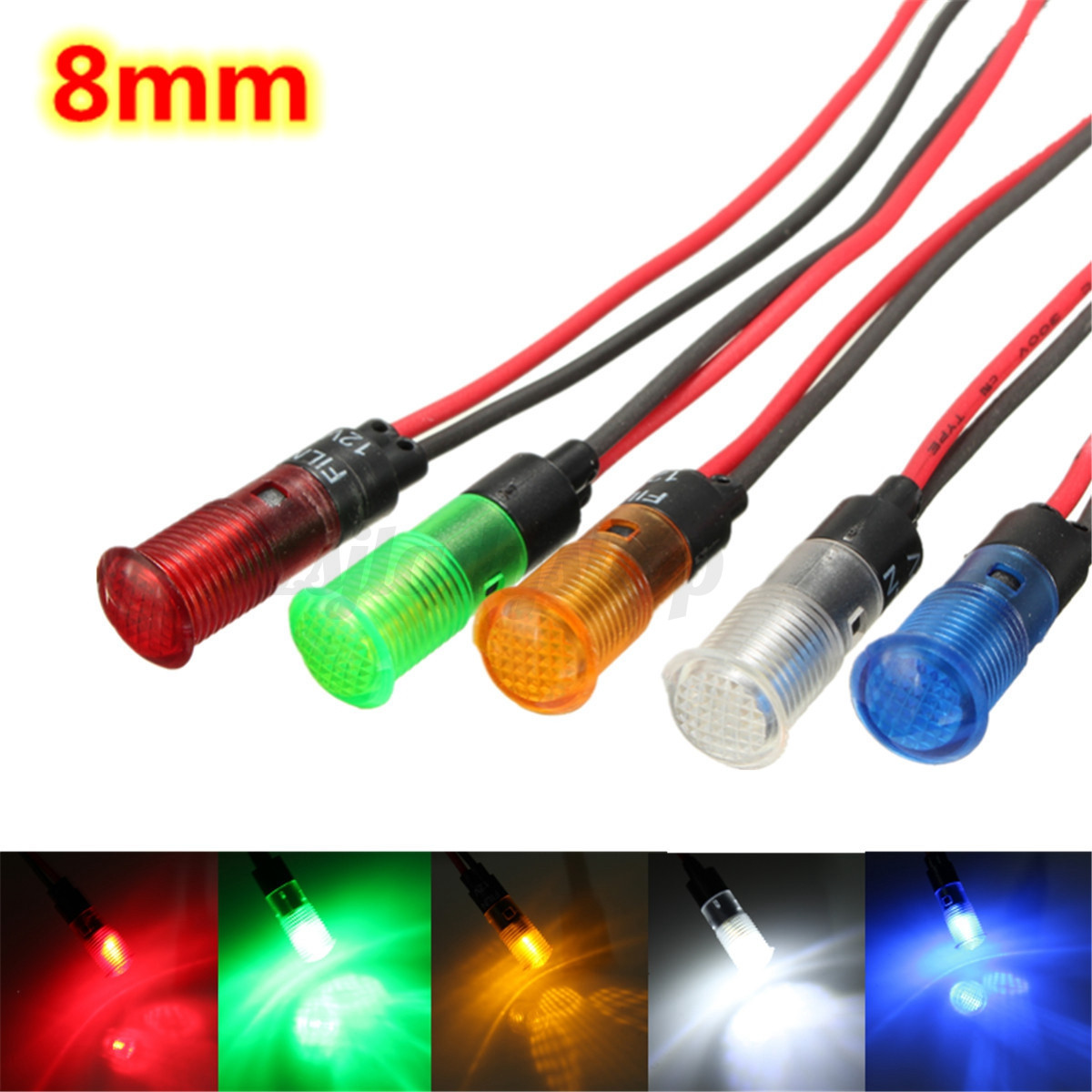 5x 12v 8mm led indicator warning light lamp dash. Black Bedroom Furniture Sets. Home Design Ideas