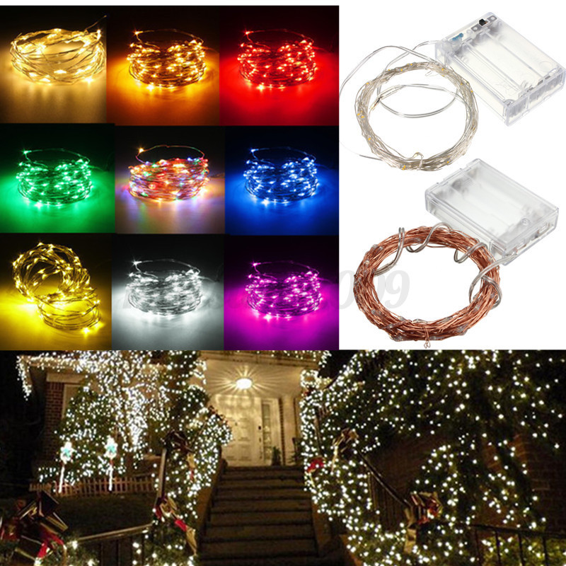 1/2/3/4/5/10M Battery/Solar/12V LED Silver Copper Wire Fairy String Light Xmas