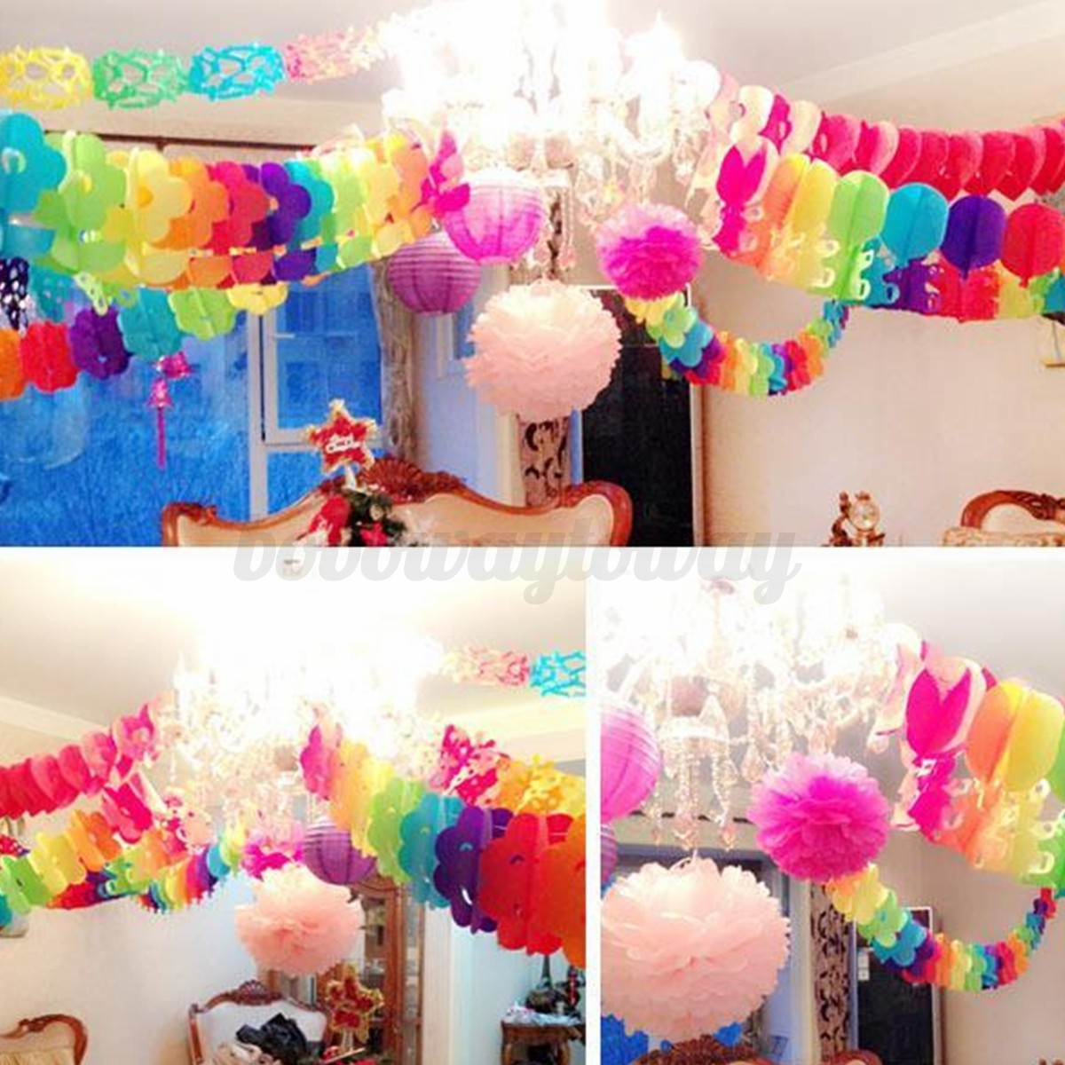 ... Colourful Hanging Paper Chain Flower Wedding Birthday Party Decoration