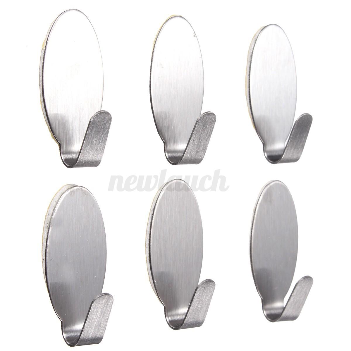 12 x adhesive stainless steel towel racks wall door hooks for Bathroom hooks