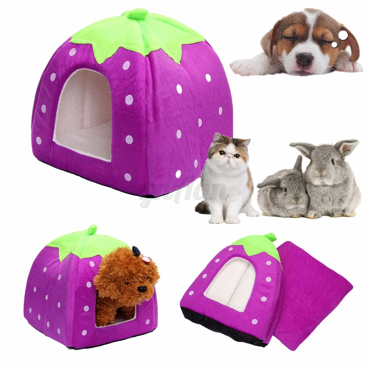Soft Pet Dog Cat Teddy Cozy Bed Nest House Kennel Warm Cushion Basket Pad Mat