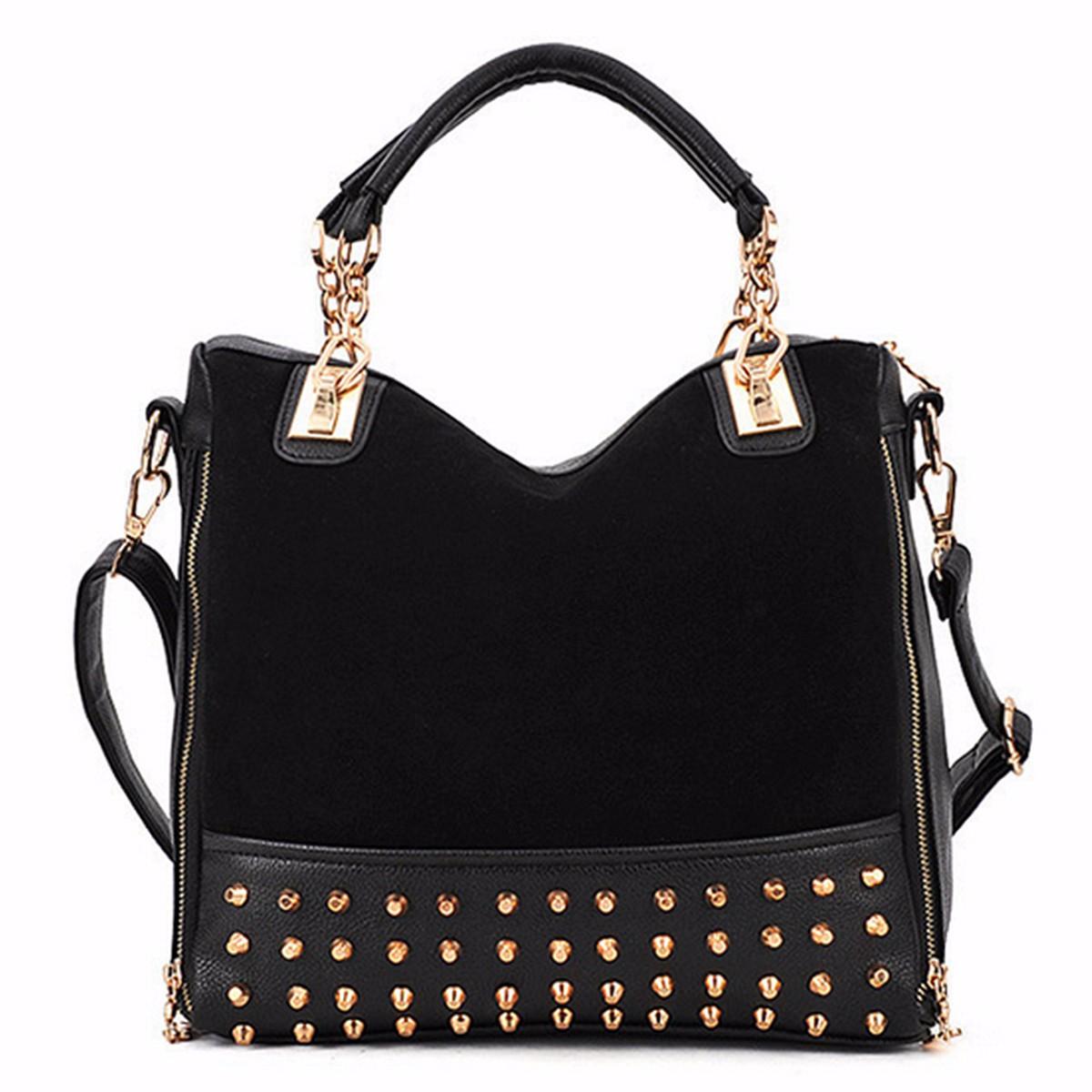 Women Ladies Exquisite Luruxy Rivet Studded Tote Shoulder Messenger Handbag Bag