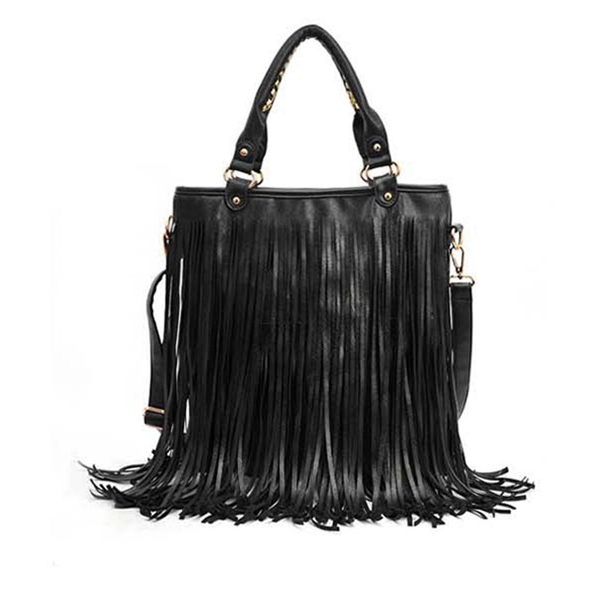 Women Fashion Tassel Fringe Suede Shoulder Bag Handbag Satchel Tote Crossbody