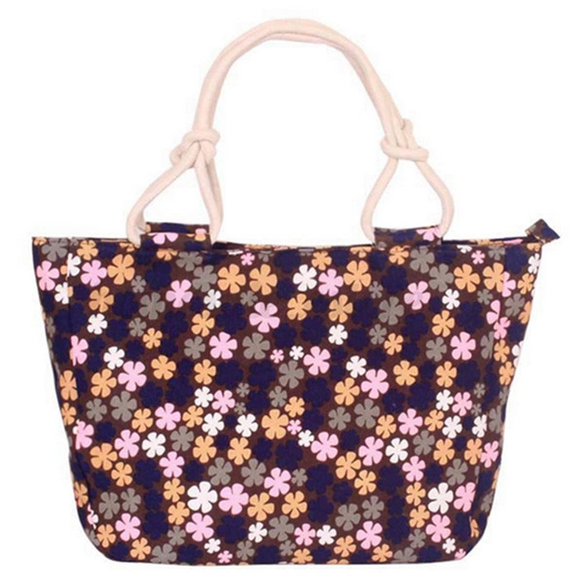 Women Ladies Canvas Flower Zip Shopping Beach Shoulder ...
