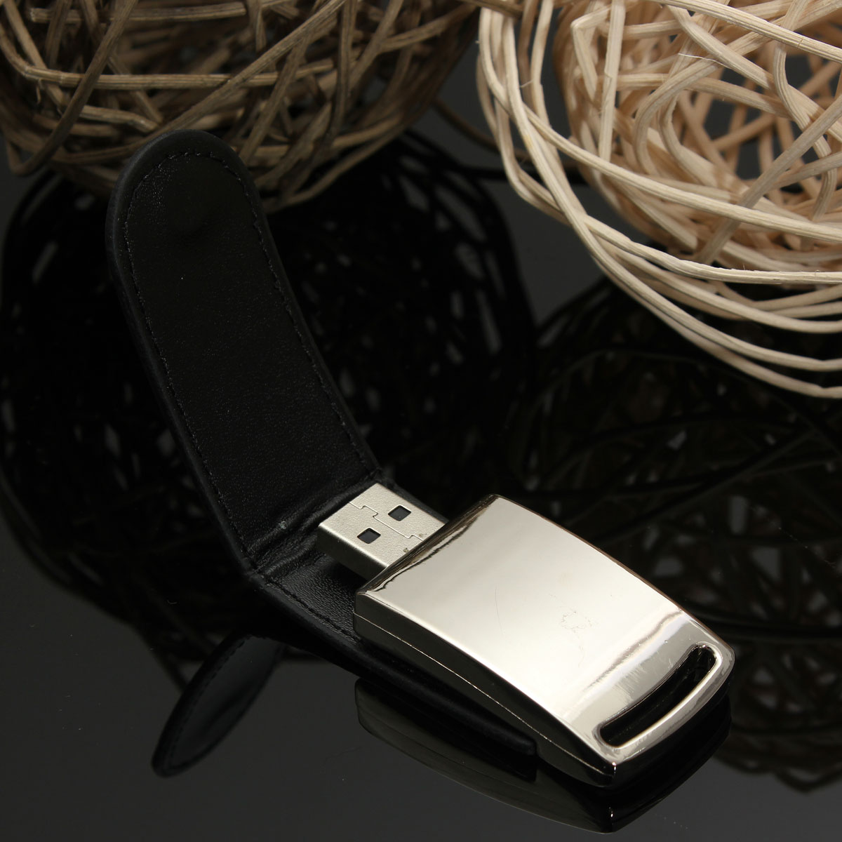 32GB Mini Leather Metal Silver USB 2.0 Flash Stick Memory Drive Pen Storage