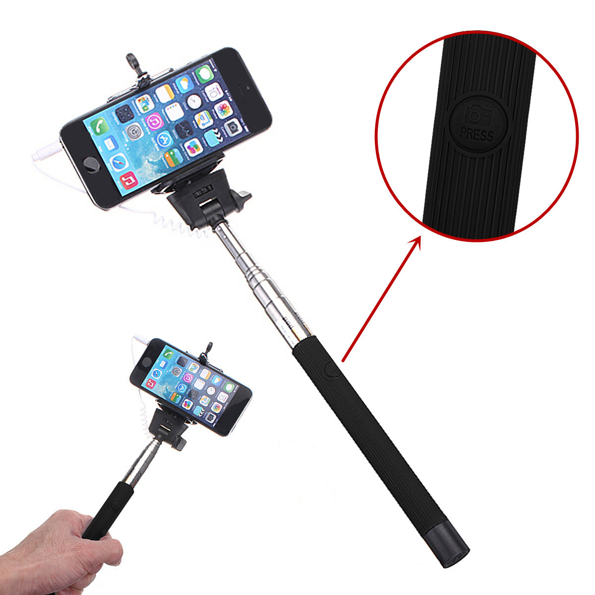extensible remote monopod selfie stick for iphone samsung huawei sony lg nexus. Black Bedroom Furniture Sets. Home Design Ideas