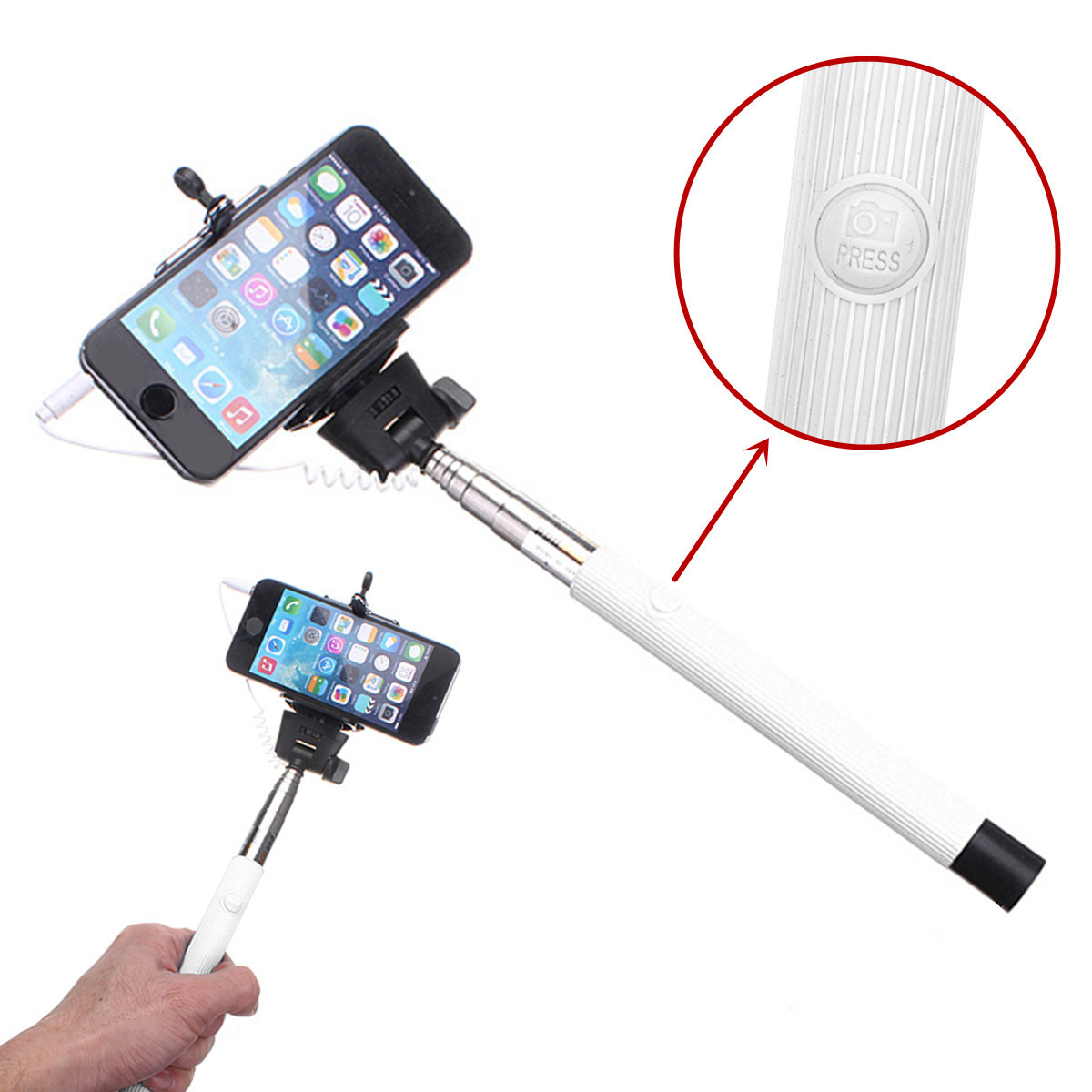 extensible remote monopod selfie stick for iphone samsung huawei sony lg nexu. Black Bedroom Furniture Sets. Home Design Ideas