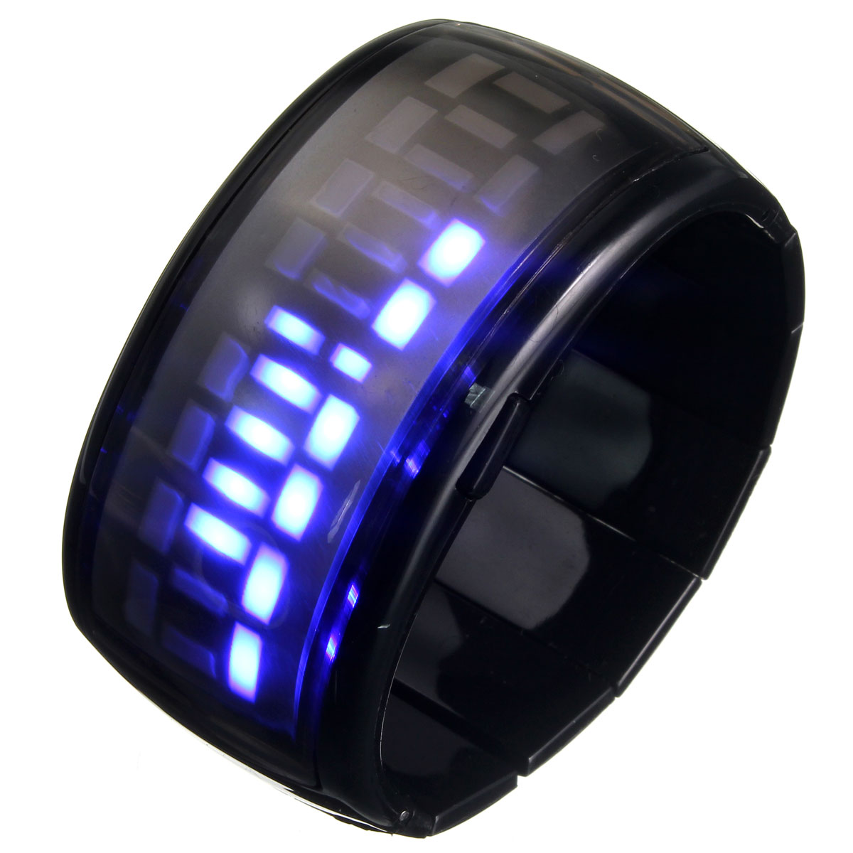 blue led digital display bracelet futuristic s s