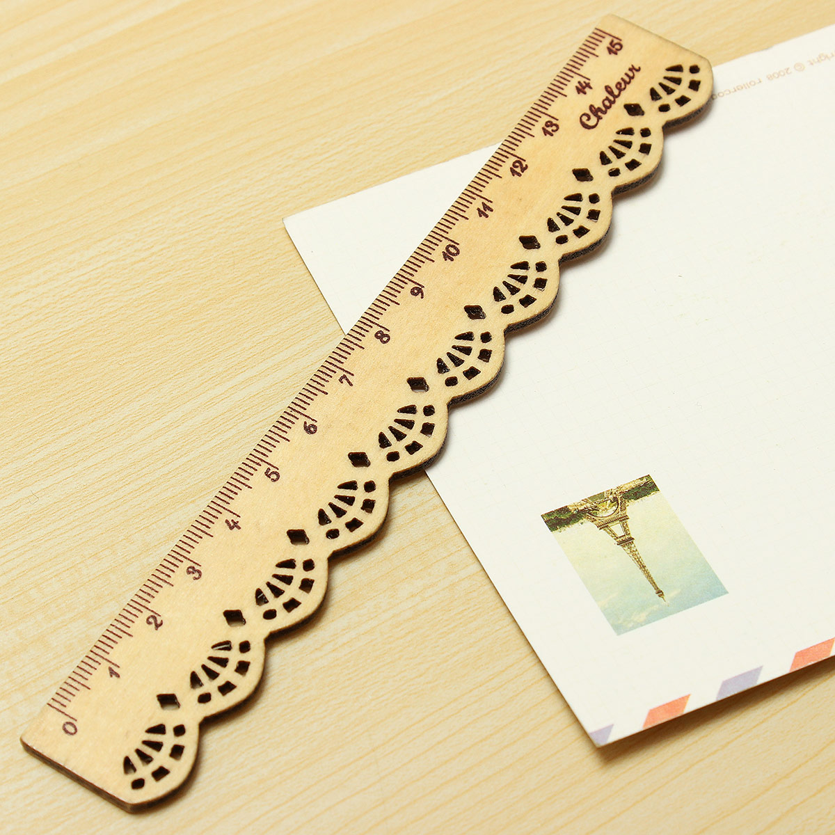 1pcs Vintage Cute Lovely Lace Stationery Wood Ruler School Office Sewing Tools