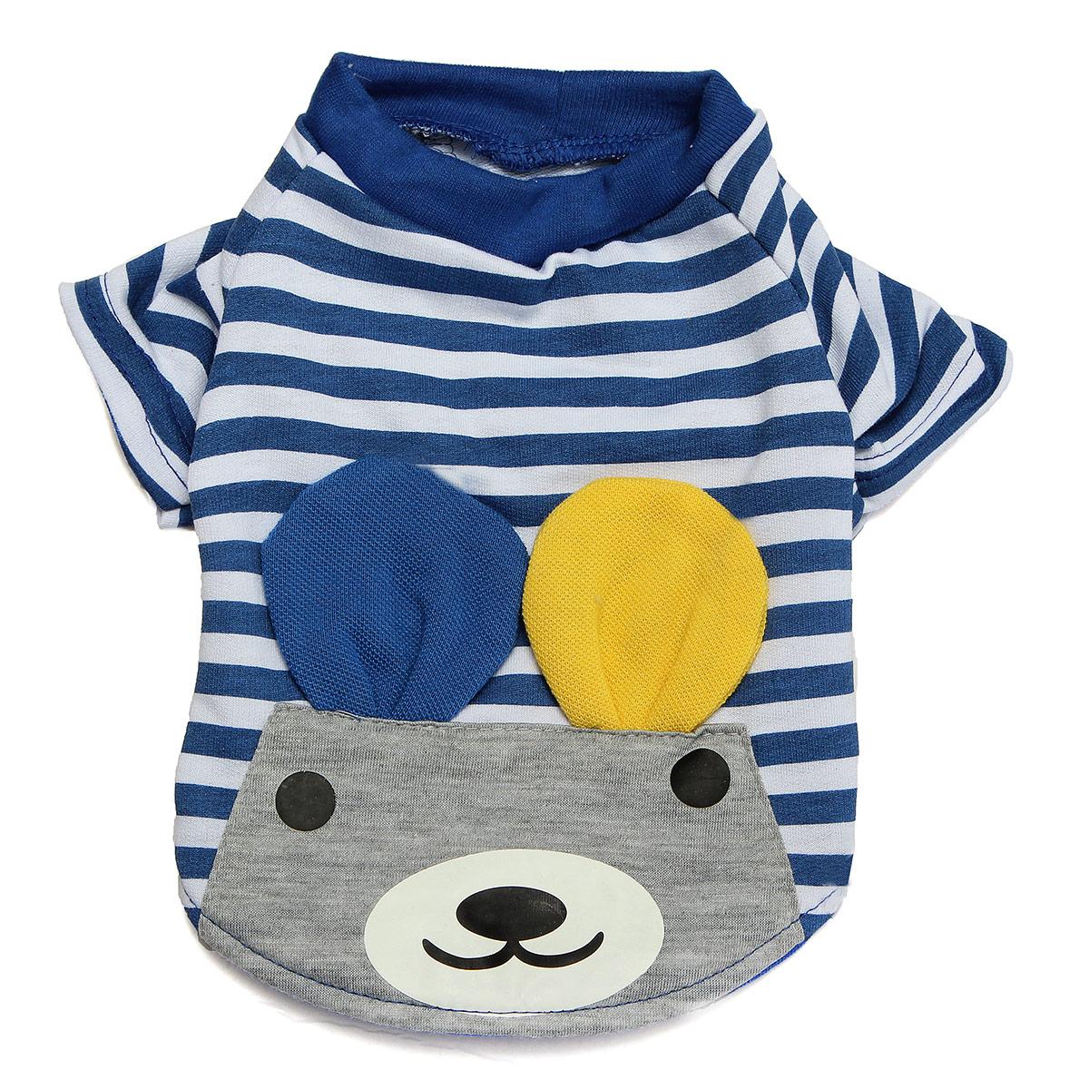 Pet Puppy Dog Cat Striped Warm Clothes Apparel Costume Cute Bear Top T Shirt