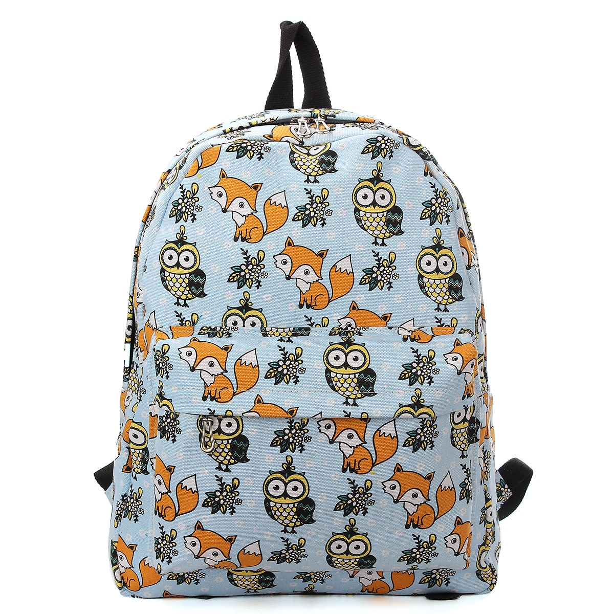 Owl Fox Backpack Canvas Animal Women Girl Satchel Shoulder