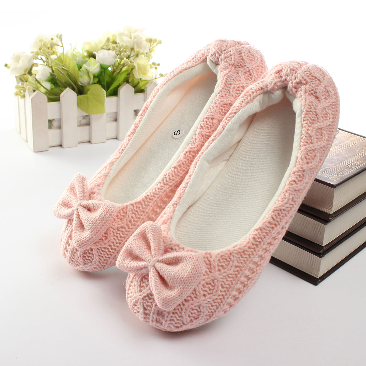 Women Soft Sole Winter Bow Bowtie Crochet Knitted Indoor Dance Shoes Slippers