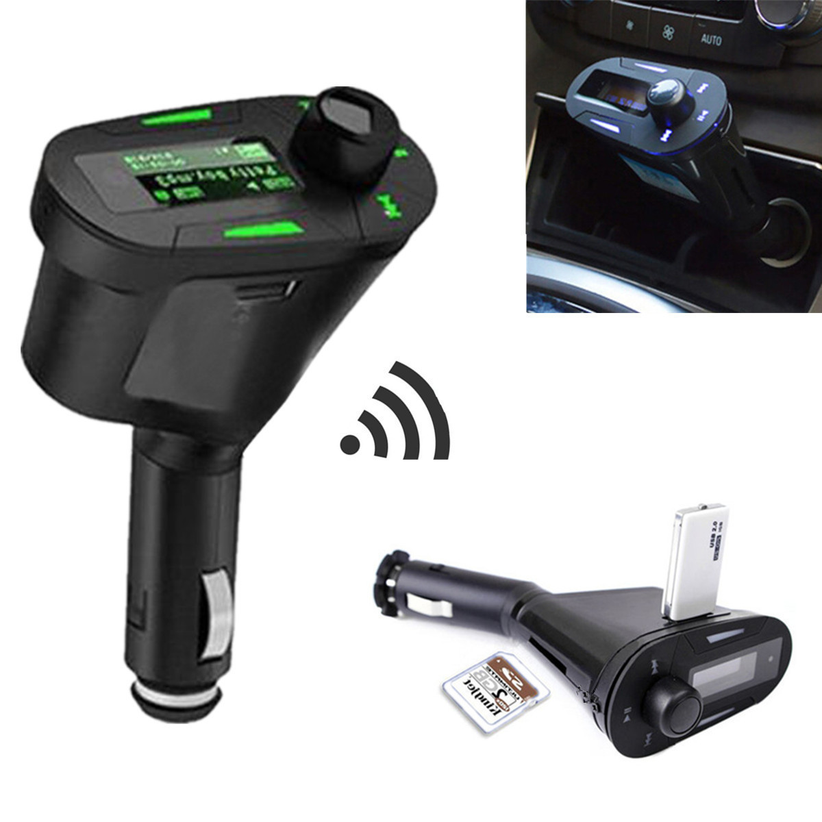 bluetooth auto car fm transmitter radio usb sd mp3 musik. Black Bedroom Furniture Sets. Home Design Ideas
