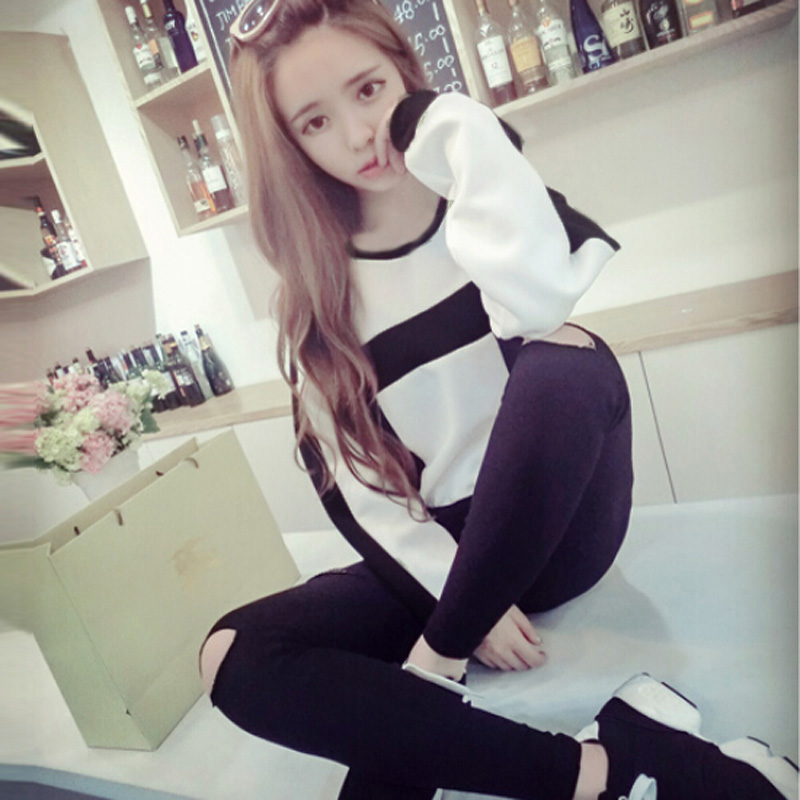 Nuevo Mujer Hollow Square Pattern Long Sleeve Loose Blouse Crop Tops Tee Shirt
