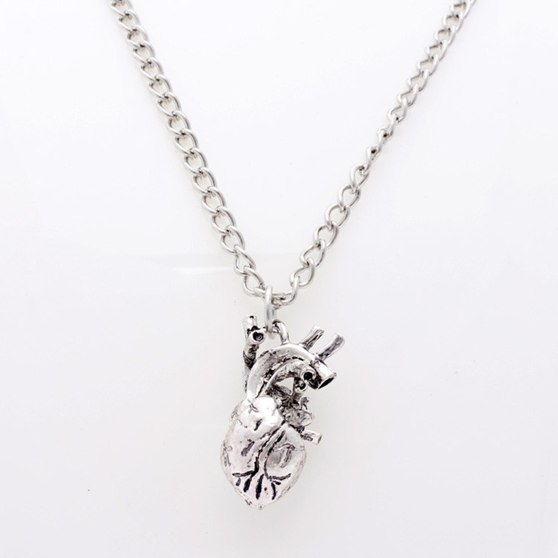 Retro Gothic 3D Anatomical Human Hollow Heart Pendant Necklace Sweater Chain