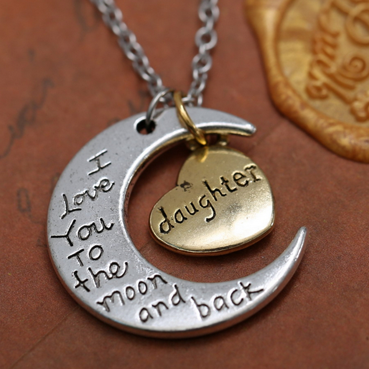 I LOVE YOU TO THE MOON AND BACK Jewelry Gift Necklace ...