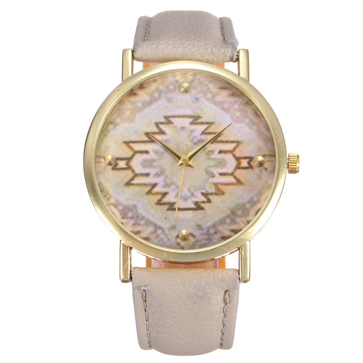 Fashion vintage Leather Geometric Wave Watch Women Dress Quartz Watches Gift