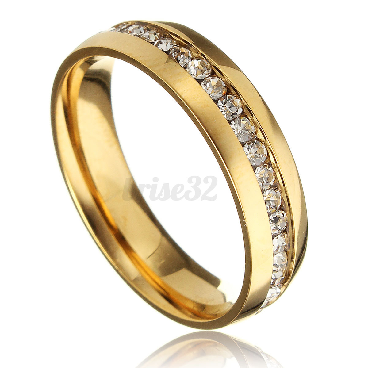Gold Plated Wedding Rings: New 18k Gold Plated CZ Round Band Ring Women/Men's